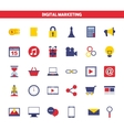 digital marketing set line icons vector image