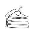 doodle a piece cake with cream and cherry vector image