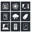Exchange of information technology icons set vector image vector image