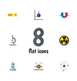 flat icon knowledge set of glass attractive force vector image vector image