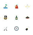 flat icons pirate hat vessel bottle and other vector image vector image