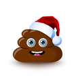 funny and cute poop character with santa hat vector image