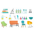 hairdressing tools and laboratory equipment set vector image vector image