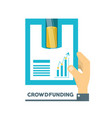 hands with business project to company finance vector image vector image