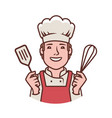 happy chef logo cooking restaurant food symbol vector image vector image