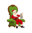 happy santa claus sitting armchair white vector image vector image