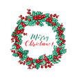 holly berries frame christmas wreath leaves vector image
