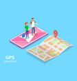isometric flat concept mobile pgs vector image vector image