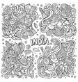 line art hand drawn doodles cartoon set of vector image vector image