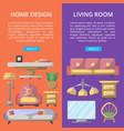 living room design poster set vector image vector image