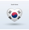 Love South Korea symbol Heart flag icon vector image