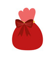 merry christmas red bag with bow decoration vector image vector image