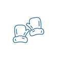mittens line icon concept mittens flat vector image vector image