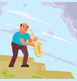 musician playing saxophone in street vector image vector image