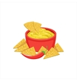 Nachos Chips With Cheese Dip Traditional Mexican vector image
