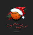 new year and basketball ball in santa hat vector image vector image