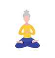 old woman sitting in yoga meditation position in vector image vector image