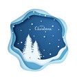 origami snowy christmas tree forest vector image