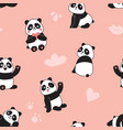 panda seamless pattern happy cute flying panda vector image