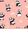 panda seamless pattern happy cute flying vector image