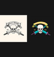 pirate skull on background daggers vector image vector image