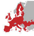 red map european union with extra ue vector image vector image