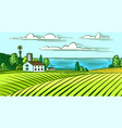 rural meadow a village landscape with hills vector image vector image