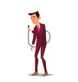 sad tired businessman holding power cord in hand vector image vector image