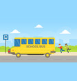 school boys running to yellow bus at bus vector image vector image