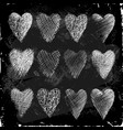 set hearts hand drawn in chalk on a blackboard vector image vector image