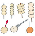 set of meatball fish ball pork ball and shrimp vector image