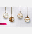 set of realistic brown - gold christmas balls vector image vector image