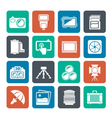 Silhouette Photography equipment icons vector image vector image