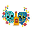 skulls with flowers and tequila to mexican event vector image vector image