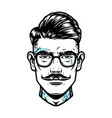 tattooed mustached man head in eyeglasses vector image vector image