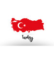turkey country flag inside map contour design vector image