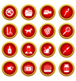 veterinary icon red circle set vector image vector image