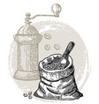 vintage coffee coffee grinder vector image vector image