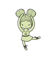 white color girl practice ballet with two buns vector image