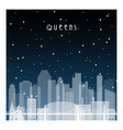 winter night in queens nyc night city vector image vector image