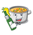 with beer cartoon homemade stew soup in the pot vector image