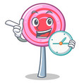 with clock cute lollipop character cartoon vector image vector image