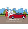 woman driver of broken car calling in insurance vector image vector image