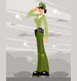 woman soldier salutes vector image