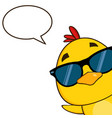 yellow chick character wearing sunglasses vector image vector image