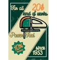 Color vintage power tools store poster vector image