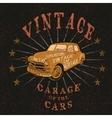 Vintage label with retro car vector image