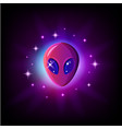 alien face with big eyes in outer space with stars vector image