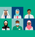 arabian muslim medical staff avatars vector image vector image