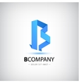 b blue letter origami logo 3d icon vector image